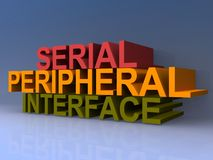 Serial peripheral interface sign. An illustrated serial peripheral interface sign on a blue background Royalty Free Stock Images