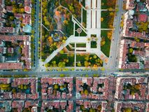 Serial view of Memorial park in Sofia Bulgaria. Aerial view of Memorial park in Sofia Bulgaria with surrounding buildings stock photography