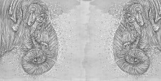 Serie animale realistica per le insegne, una pantera, un elefante Immagini Stock Libere da Diritti
