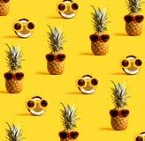 Serie av ananors och kokosnötter som bär solglasögon Royaltyfri Bild