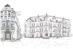 Serie av bakgrunder som dekoreras med blommor, gamla stadsikter och gatakaf?er