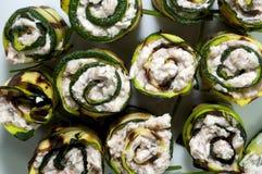 Serie av den rullande zucchinin Arkivfoto