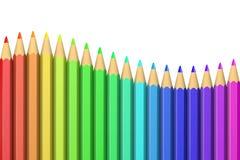 Serie av färgrika färgpennor Royaltyfria Foton