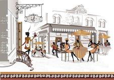Serie av gatakaféer i staden med folk Arkivbild