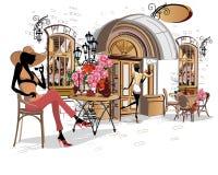 Serie av gatakaféer i staden med folk som dricker kaffe royaltyfri illustrationer