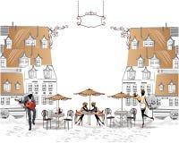 Serie av gatakaféer i staden med folk som dricker kaffe Royaltyfria Bilder