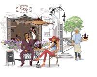 Serie av gatasikter i den gamla staden dricka romantiker för kaffepar Royaltyfri Fotografi