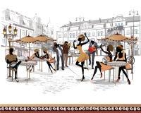 Serie av gatasikter i den gamla staden med musiker