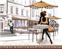Serie av gatasikter med folk Royaltyfri Bild