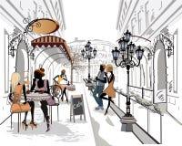Serie av gatorna med musiker i den gamla staden stock illustrationer