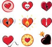 Serie av hjärtasymboler royaltyfri illustrationer