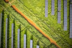 Serie av photovoltaic paneler Fotografering för Bildbyråer