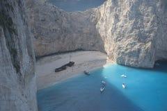 Serie av yachten i det blåa havet Royaltyfria Bilder