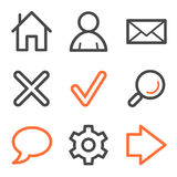 Serie básica de los iconos del Web, anaranjada y gris del contorno Imágenes de archivo libres de regalías