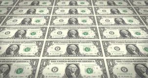 Serie of bills of one dollars on print, cash money, loop stock video