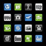 Serie brillante de //Gelbox de los botones de la industria y de la logística Fotos de archivo libres de regalías