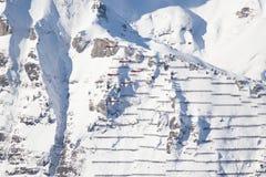 Serie C e Swis-aeronautica che eseguono uno show aereo alla coppa del Mondo dello sci di Lauberhorn Fotografie Stock