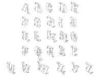 Serie completa di alfabeto isometrico Fotografia Stock Libera da Diritti