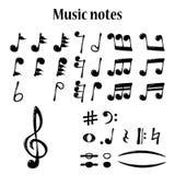 Serie completa di note musicali realistiche, vettore illustrazione di stock