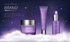 Serie cosmética de la noche para el cuidado de piel de la cara ilustración del vector