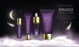 Serie cosmética de la noche para el cuidado de piel de la cara stock de ilustración