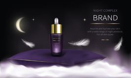 Serie cosmética de la noche para el cuidado de piel de la cara libre illustration