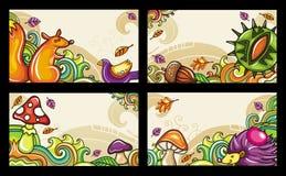 Serie d'autunno 1 delle schede illustrazione di stock