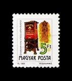 Serie de boîte aux lettres, de téléphone et de boîte aux lettres, vers 1990 Photos libres de droits