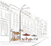 Serie de bosquejos de calles con el café