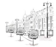 Serie de bosquejos de calles en ciudad vieja