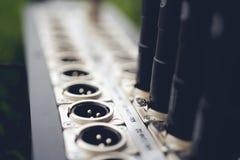 Serie de conector del xlr de la conexión Parte posterior del panel de control sano fotografía de archivo