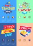 Serie de ejemplo del vector del día de los profesores de los carteles libre illustration