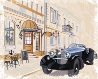 Serie de fondos del vintage adornados con los coches retros y las viejas opiniones de la calle de la ciudad