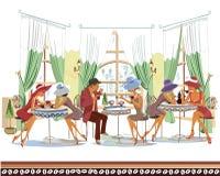 Serie de gente dentro del café de consumición del café libre illustration