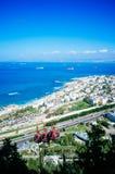 Serie de Holyland - Haifa céntrica - palo Galim y teleférico imagen de archivo