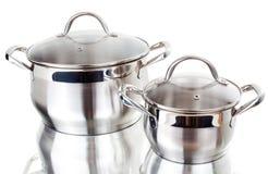 Serie de imágenes de las mercancías de la cocina. Cacerola Foto de archivo