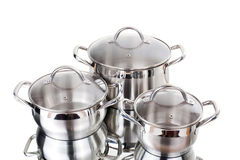 Serie de imágenes de las mercancías de la cocina. Cacerola Fotografía de archivo