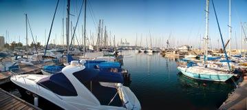 Serie de imágenes panorámicas del puerto con ya Foto de archivo libre de regalías