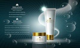 Serie de la belleza de los cosméticos, anuncios de la crema corporal superior para el cuidado de piel Plantilla para las banderas libre illustration