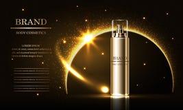 Serie de la belleza de los cosméticos, anuncios de la crema superior del espray para el cuidado de piel Plantilla para el cartel  libre illustration