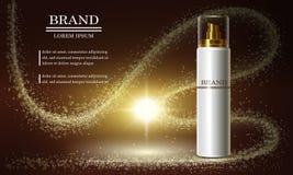 Serie de la belleza de los cosméticos, anuncios de la crema superior del espray para el cuidado de piel Plantilla para las bander Imagen de archivo libre de regalías