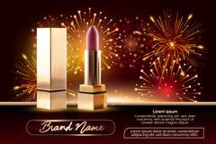 Serie de la belleza de los cosméticos, anuncios de la barra de labios femenina superior para el cuidado de piel Plantilla para el stock de ilustración