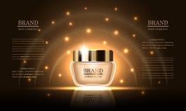 Serie de la belleza de los cosméticos, crema corporal superior para el cuidado de piel en el fondo del oro, maqueta para los anun stock de ilustración