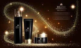 Serie de la belleza de los cosméticos, maqueta, anuncios para la crema superior del espray para el cuidado de piel Ilustración de libre illustration