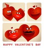 Serie de la cabina de la foto de corazones divertidos de los pares Fotografía de archivo libre de regalías