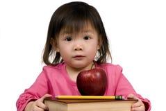 Serie de la educación (libros con la manzana y el lápiz) Imágenes de archivo libres de regalías