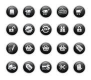Serie de la escritura de la etiqueta del negro de // de los iconos de las compras ilustración del vector