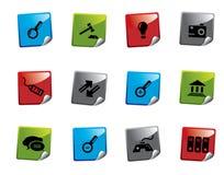 Serie de la etiqueta engomada del icono del Web Imágenes de archivo libres de regalías