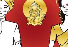 Serie de la India - pares, Ganesh ilustración del vector