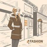 Serie de la moda urbana. Otoño, invierno. stock de ilustración